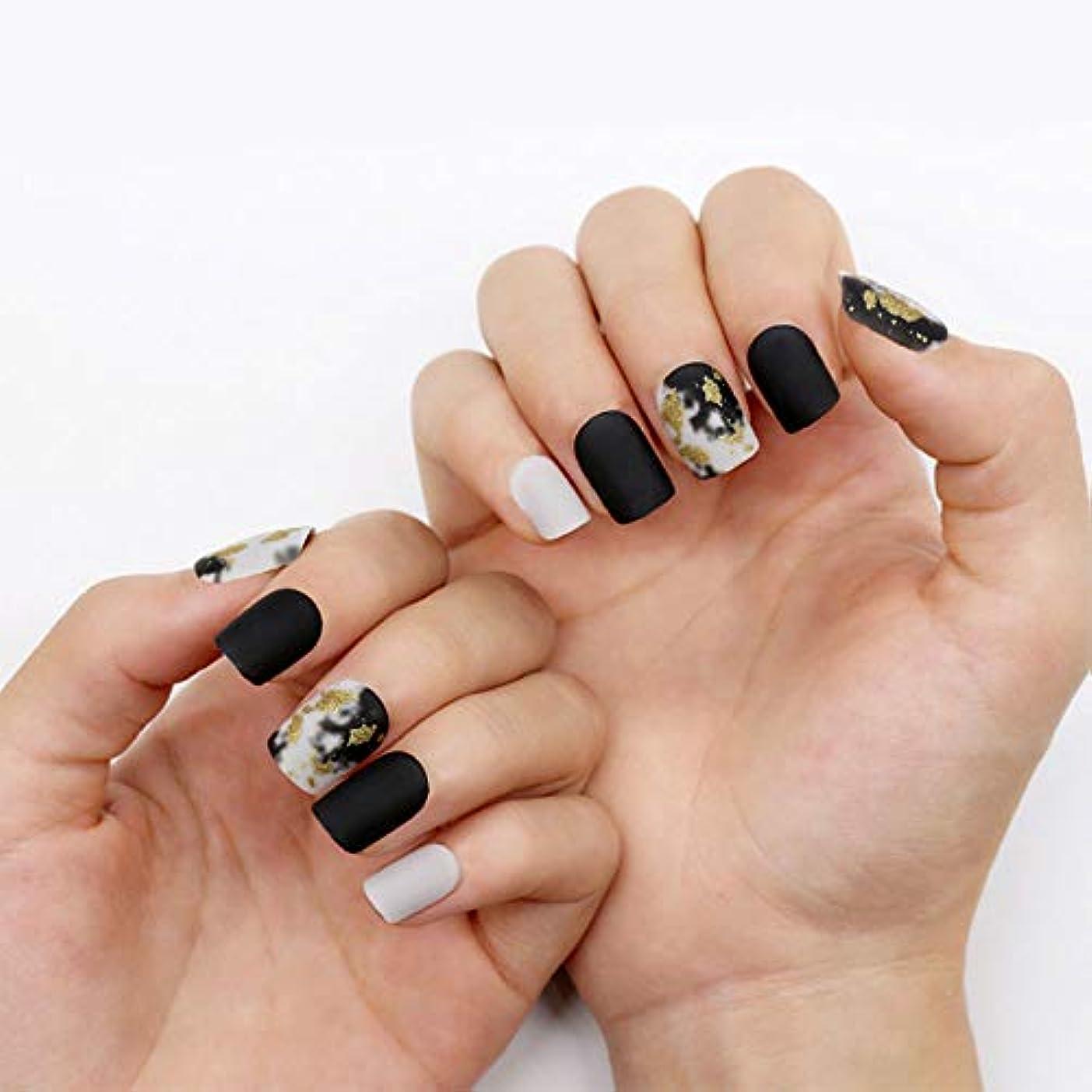 相対サイズ高度な切手ネイルチップ 12サイズ 夏の 優雅 黒 つけ爪 ネイル用品 ショート デコレーション 無地 付け爪