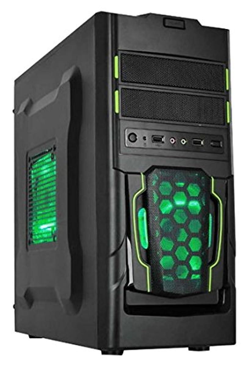 動力学識別ほんのDynamode DYNA-GC309 GC309 LockStockシリーズゲーミングM-ATX Midi PCケース - ブラック/グリーン