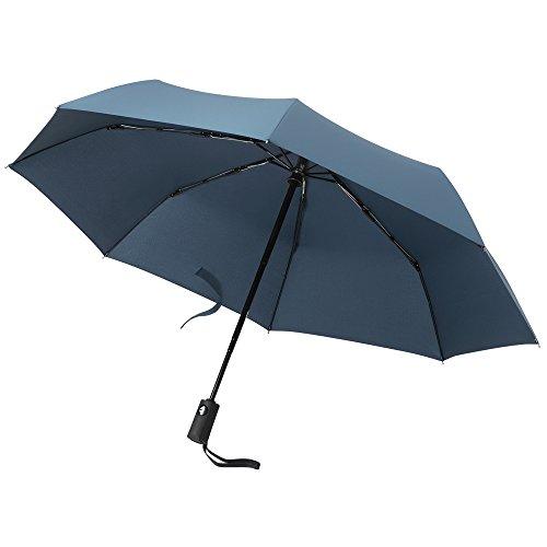 PLEMO 折り畳み傘 梅雨対策 ワンタッチ自動開閉 折りたたみ傘 改良版錆び止め 8本傘骨 耐強風 撥水加工 収納ポーチ付き ネイビーブルー (直径94センチ)