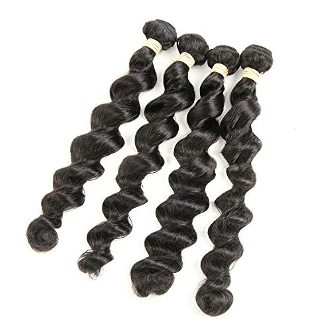 換気明らかに信じるWASAIO 人毛レースフロントウィッグブラジルのバージンヘアールーズウェーブ1つのバンドル100%未処理の人間の髪ブロンド (色 : 黒, サイズ : 16 inch)