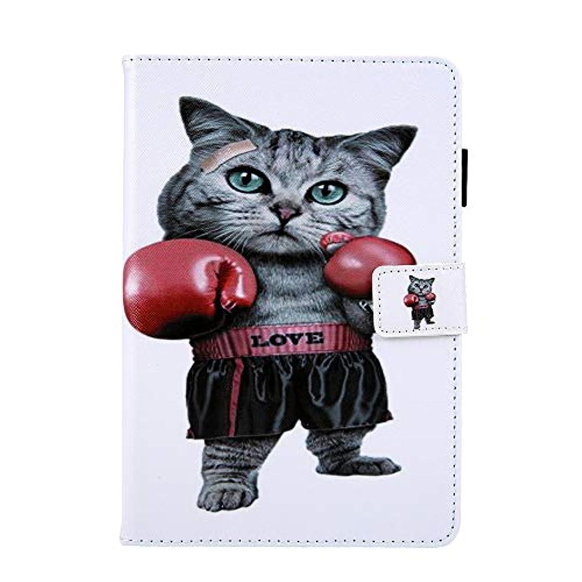 賞ケーブルタッチiPad Mini 1 2 3 4 ケース、フレッシュスタイル、カードポケット スタンド機能 、 ボクシング猫