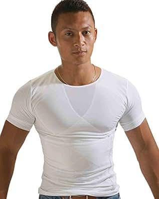 トリプルエス マッスルエックス 着るだけマッチョ 加圧シャツ 加圧インナー 猫背矯正 着圧下着 加圧下着 メンズ 黒白MLサイズ (M, 白)
