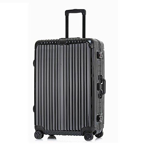 クロース(Kroeus)スーツケース TSAロック搭載 キャリーケース アルミフレーム 機内持込可 ベルトフック付き 旅行 軽量 8輪 鏡面仕上げ ブラック XL