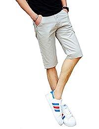 チェック ハーフパンツ メンズ カーゴパンツ チノパン ストリート ミディアム 七分丈 ゴルフウェア 短パン 夏 薄手 無地 大きいサイズ ゆったり