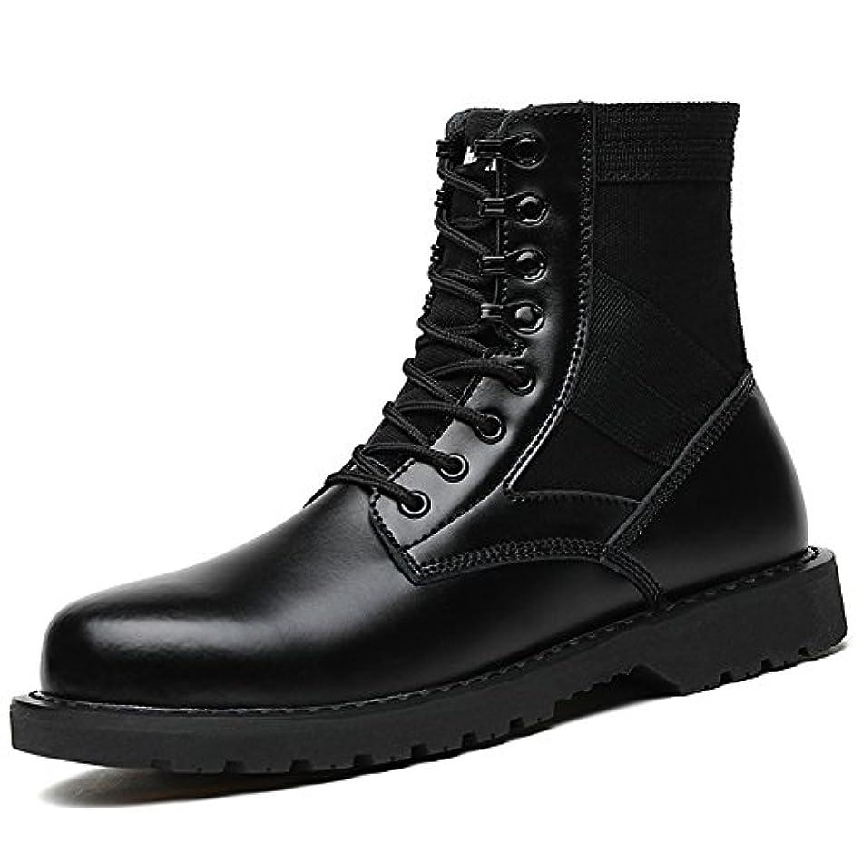 確執下着隣人[間靴のお店があります] メンズ ブーツ マーティンブーツ エンジニアブーツ ショ防水 滑り止め本物の革マーティンブーツ,ブラック