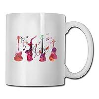 カラフルな音楽ギターコーヒーマグ11オンスメンズ愛セラミックギフトティーカップ-家族や友人のための完璧な贈り物312 ML