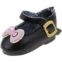 ノーブランド品 かわいい 人形 靴 ちょう結び アンクル ストラップ  PUレザー シューズ 12インチ ブライスドール適用 3色選べる - ブラック