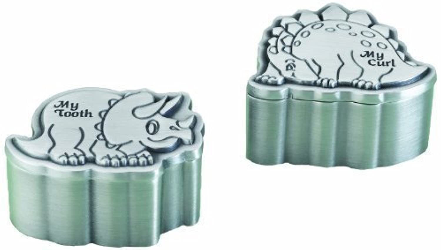 Lillian Rose Pewter Tooth and Curl Box, Dinosaur, 2, 2 Count by Lillian Rose