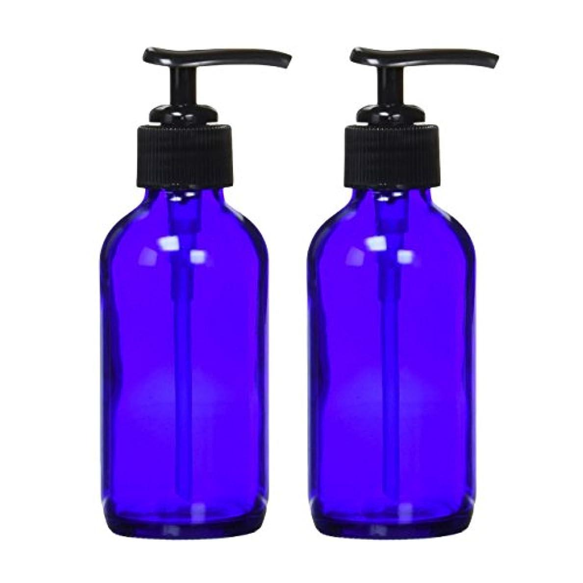 ウッズサーキットに行くめ言葉生活の木 青色ガラスポンプ瓶 (遮光瓶) 120ml (2本セット)