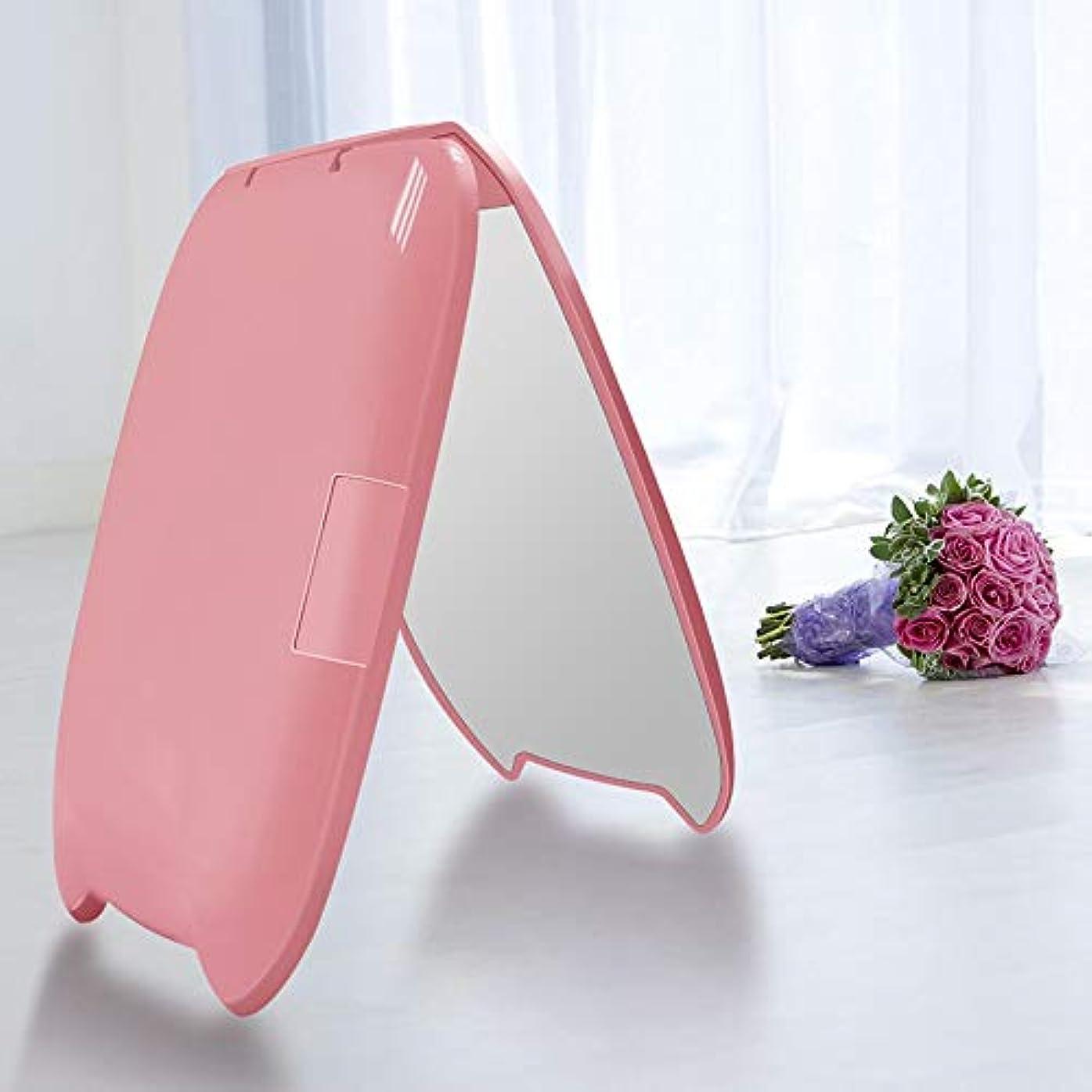 脚章鑑定流行の ミニポータブル猫耳LED化粧鏡2回化粧小さな化粧鏡美容鏡化粧鏡ピンク