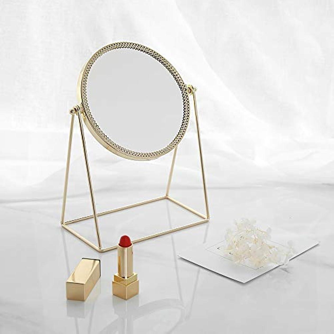 ピック油役に立つ流行の 現代の創造性ゴールドラウンドアイアンフレーム+ミラーデスクトップミラー/化粧鏡