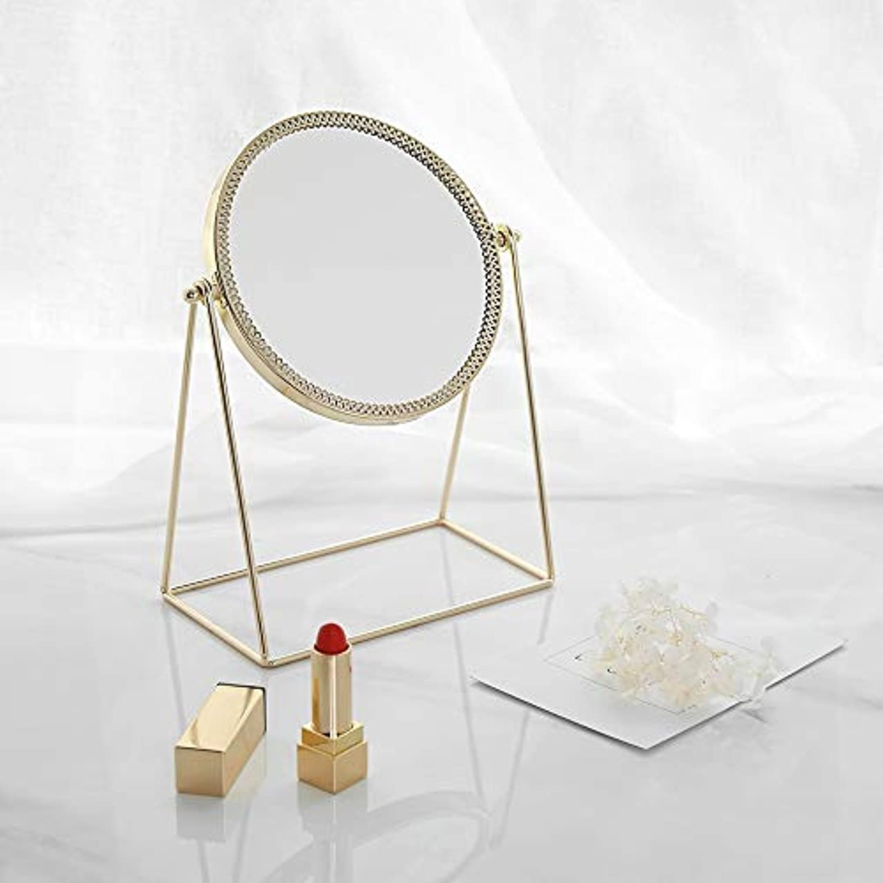 ぺディカブ相互接続断片流行の 現代の創造性ゴールドラウンドアイアンフレーム+ミラーデスクトップミラー/化粧鏡