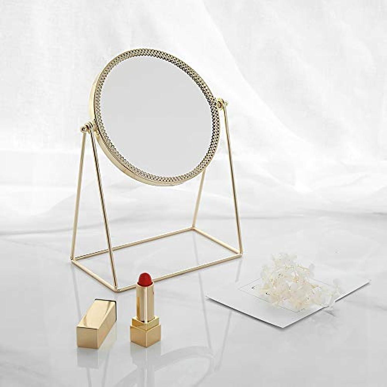 フレキシブルアレルギー改善する流行の 現代の創造性ゴールドラウンドアイアンフレーム+ミラーデスクトップミラー/化粧鏡