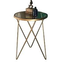 HAUYU テーブル サイドテーブルゴールドエンドテーブル、ガラストップ。 リビングルーム、パティオ、ガーデンまたはベッドルームの装飾 耐久性のある
