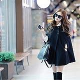 (Smartlove1)女性用冬用バットウィングポンチョシングルブレストウールカジュアルルーズパーカーフード付き襟長袖マントコートケープジャケット