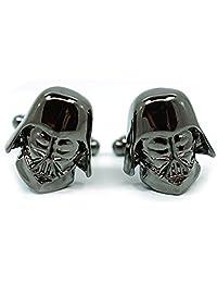 Teri's Boutique Men's Jewelry Star Wars Darth Vader Head Dark Gray Gunmetal Cufflinks Pair w/Gift Box