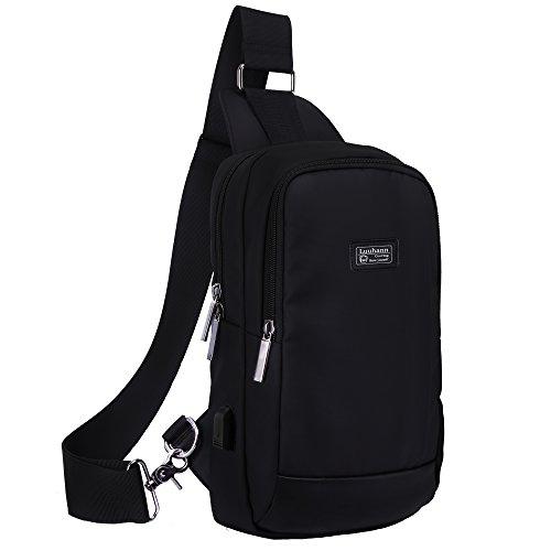 Luuhann ボディバッグ メンズ USBポート搭載防水ワンショルダーバッグ 大容量9.7インチipad収納可能 (黒Sサイズ)