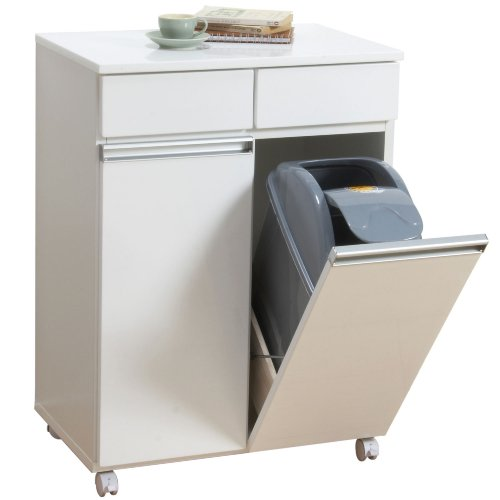 クロシオ ダイニングダストボックス2D ホワイト 幅55cm奥行40cm高さ82cm 2分別ゴミ箱