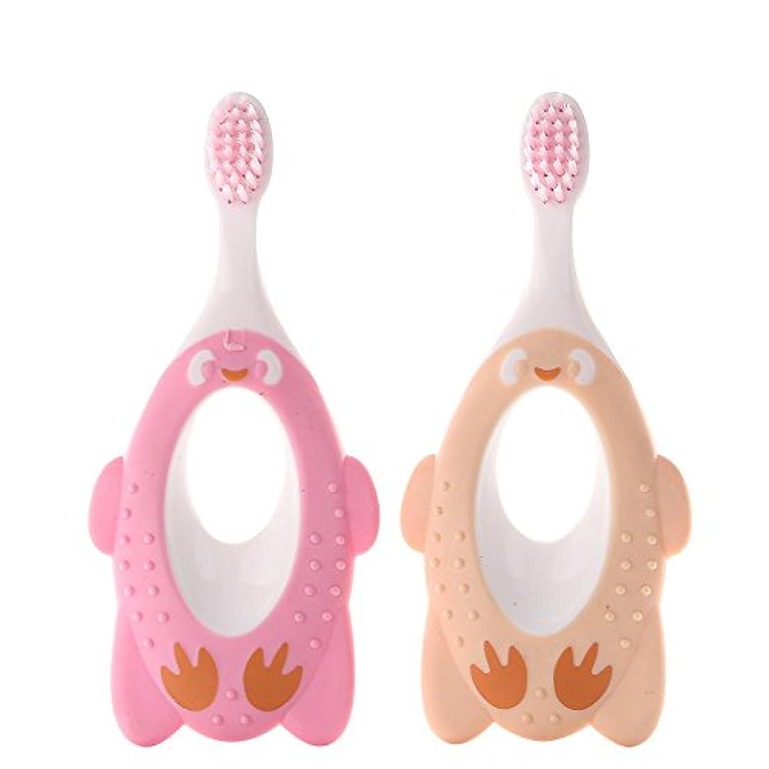 フェリータイヤ乱用Liebeye 赤ちゃん 歯ブラシ かわいい漫画 柔らかい毛の口腔ケア ツール 練習 歯ブラシ ランダムな色
