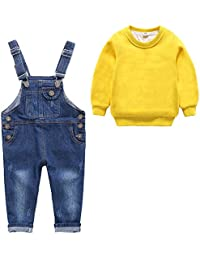 「Bidear」子供服 ロンT+ オーバーオール コスチューム コスプレ 長ズボン キッズ 女の子 男の子 上下 2点セット かわいい 2~8歳