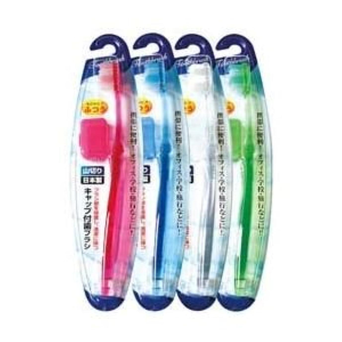 出くわす不屈胚キャップ付歯ブラシ山切りカット(ふつう)日本製 【12個セット】 41-209