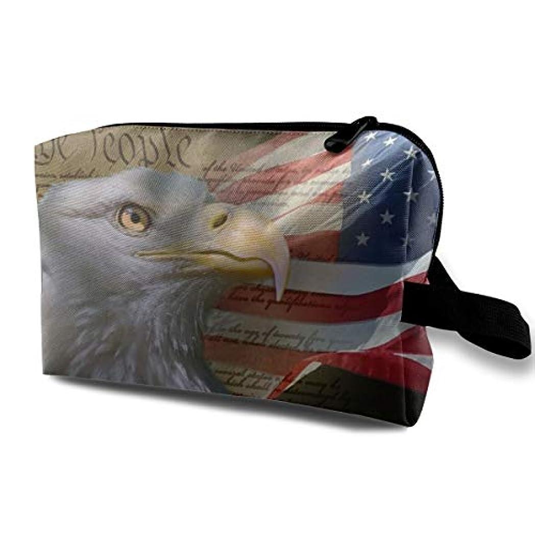 法的健康ブルBald Eagle On American Flag 収納ポーチ 化粧ポーチ 大容量 軽量 耐久性 ハンドル付持ち運び便利。入れ 自宅?出張?旅行?アウトドア撮影などに対応。メンズ レディース トラベルグッズ