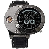 Lookatool Windproof Casual Military Quartz Watch USB Cigarette Cigar Flameless Lighter