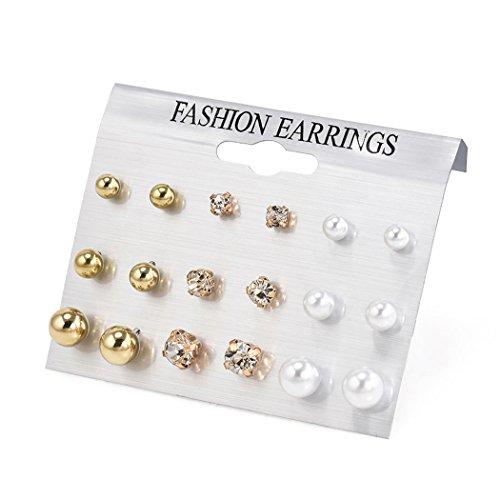 [해외]여성 인기 진주 귀걸이 스테인리스 귀걸이 남녀 겸용 18 개에서 9 쌍/Ladies Popular Pearl Earrings Stainless Steel Earrings 9 pairs with 18 unisex dual use