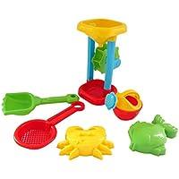Vibola 6Pcs Sand Sandbeach Kids Beach Toys Bucket Rakes Sand Wheel Watering Castle Bucket Spade Shovel Rake Water Tools Sand Play Bath Toys Water Tools