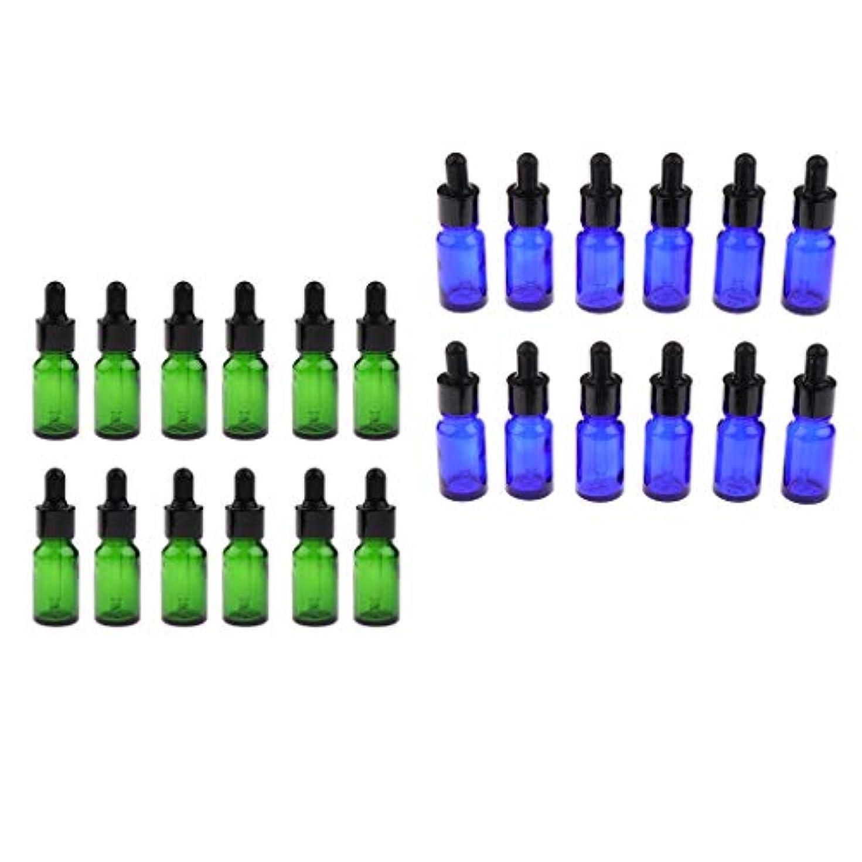 盆地作業バイパス24個入 エッセンシャルオイル 遮光ビン 精油瓶 アロマボトル 空のガラス瓶 5/ 10ミリ 緑+青