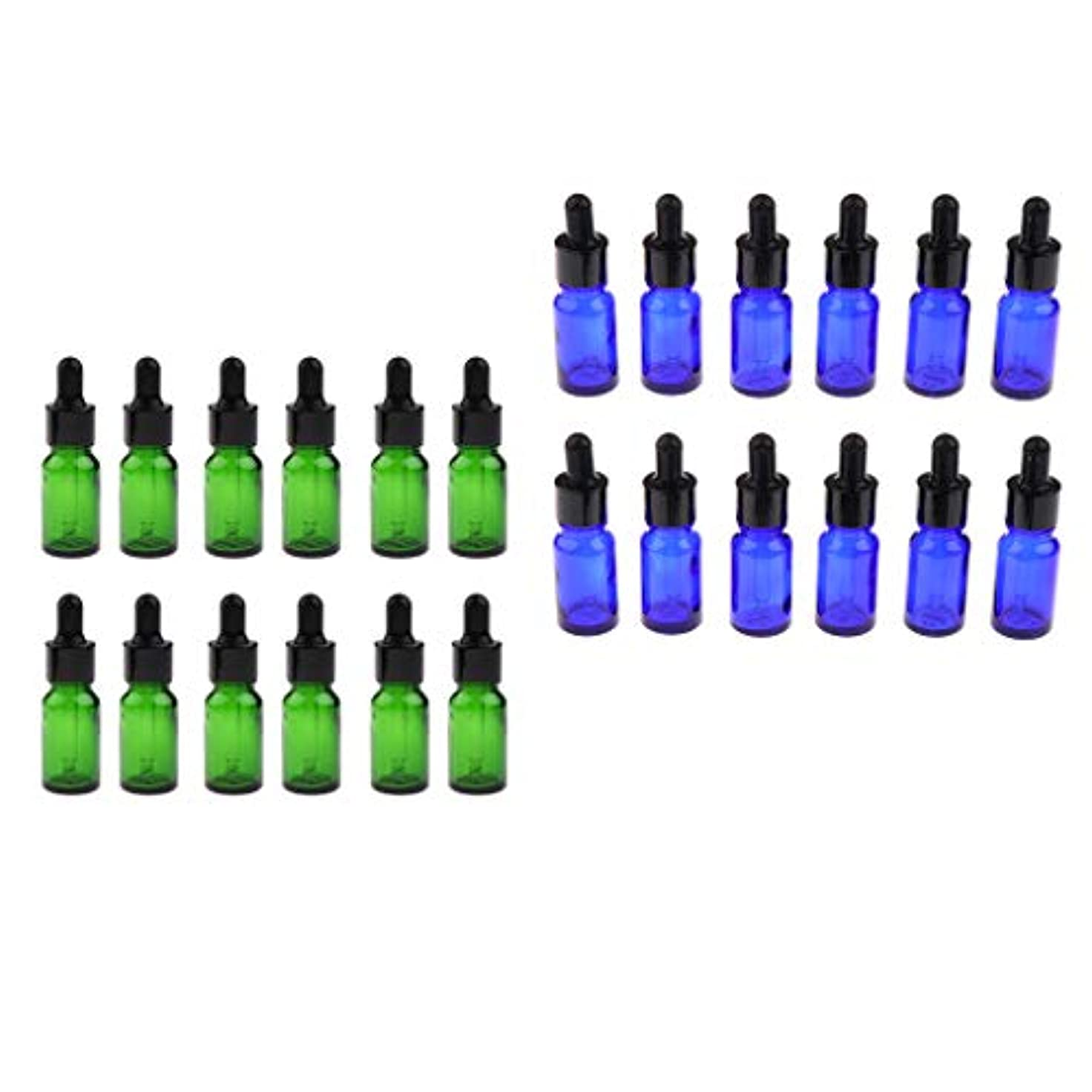 IPOTCH 24個 アロマ 精油瓶 遮光ビン ドロッパーボトル ガラス瓶 小分け容器 緑 青 5/ 10ミリ