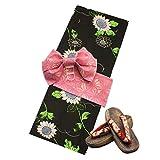 [オオキニ] 浴衣 つくり帯 セット 作り帯 3点セット フリーサイズ (帯:ピンク/麻の葉) レディース