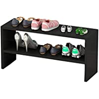 QFF 木製防塵靴ラック、ベッドルーム家庭用多層ストレージラックシンプルな多機能靴フレーム60 * 20 * 30CM 多層 (色 : 黒, サイズ さいず : 60 * 20 * 30CM)