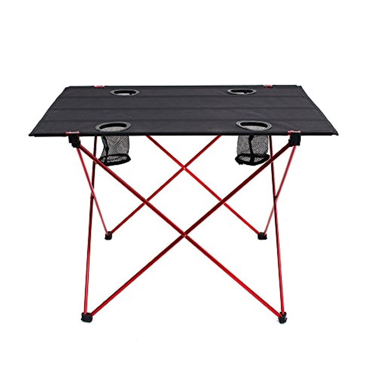 浸漬打ち上げる配送Outry 軽量折りたたみ式テーブル カップホルダー付き ポータブルキャンプテーブル