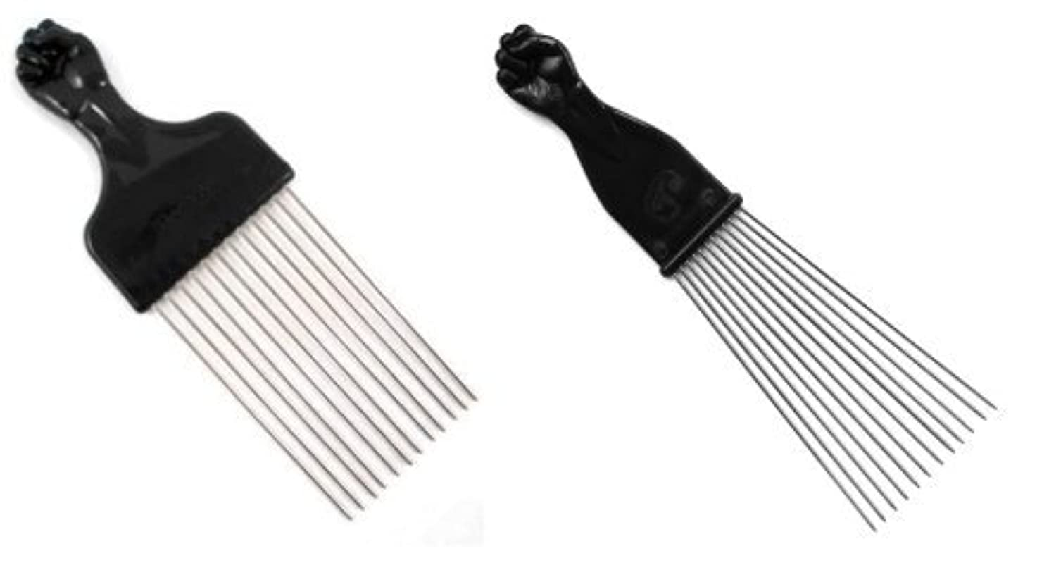 兵器庫お肉分散Afro Pick w/Black Fist - Metal African American Hair Comb Combo [並行輸入品]
