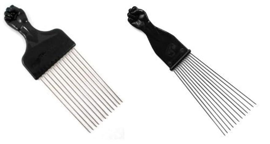 銀河数クローゼットAfro Pick w/Black Fist - Metal African American Hair Comb Combo [並行輸入品]