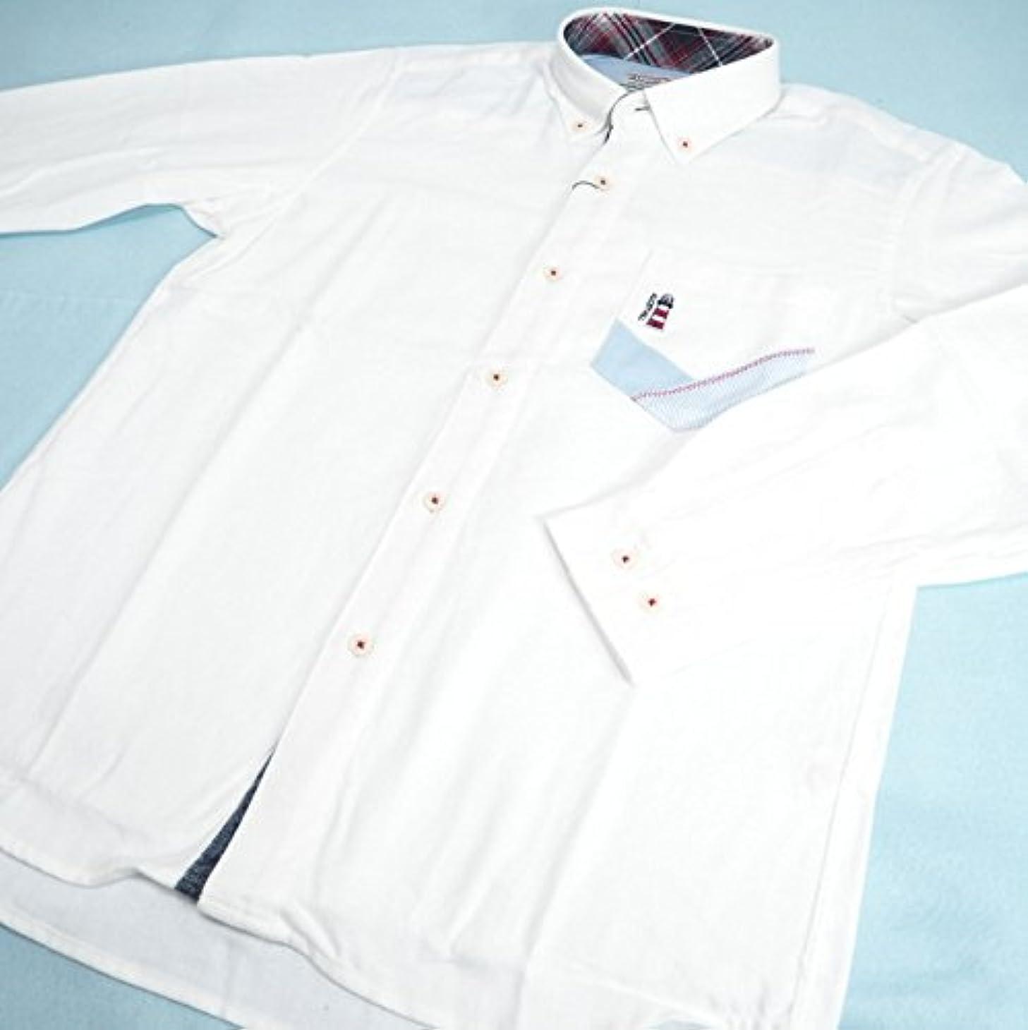 恥順応性寄付20843 秋冬 長袖 無地 ネルシャツ ボタンダウン 胸ポケット付き ホワイト(白) サイズ L ANGELO アンジェロ 紳士服 メンズ 男性用