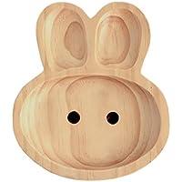 Petits Et Maman Kids' Wood Plate, Rabbit by Petit Et Maman