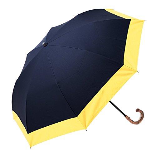 【Rose Blanc】100%完全遮光 日傘 2段折りたたみ レディース コンビ(傘袋付) 50cm (ネイビー×イエロー)