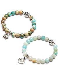 Bivei Natural Gemstone Bead Bracelet Semi Precious Crystal Healing Stone Yoga Meditation Lotus Good Luck Elephant Charm Bracelet Women