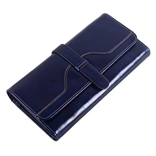 財布 レディース 本革 長財布 多機能 大容量 カード入れ付き手帳型オイル仕上げ (ブルー)