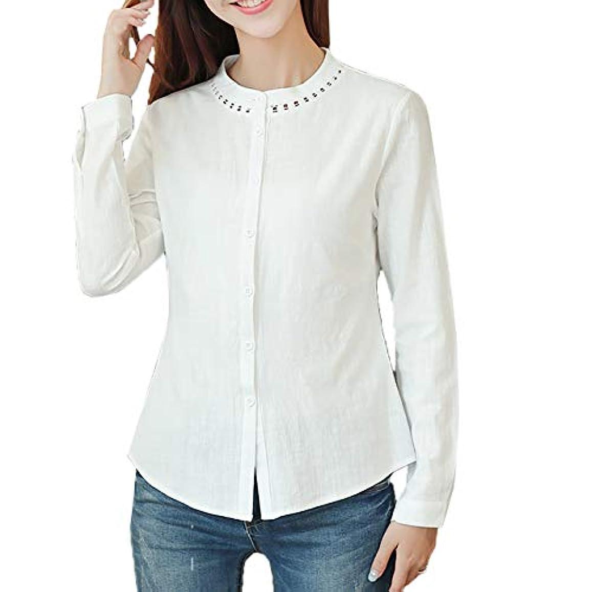 バッテリーミニチュア植物学者[ココチエ] ブラウス シャツ レース スタンドカラー レディース 白 おしゃれ 長袖 ビジネス 7分 七分袖 かわいい カジュアル