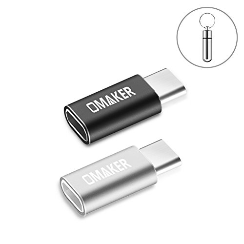 Omaker USB-C変換アダプタ/Micro USB To Type C変換アダプタ【2個セット+紛失防止収納ボトル】Quick Charge対応