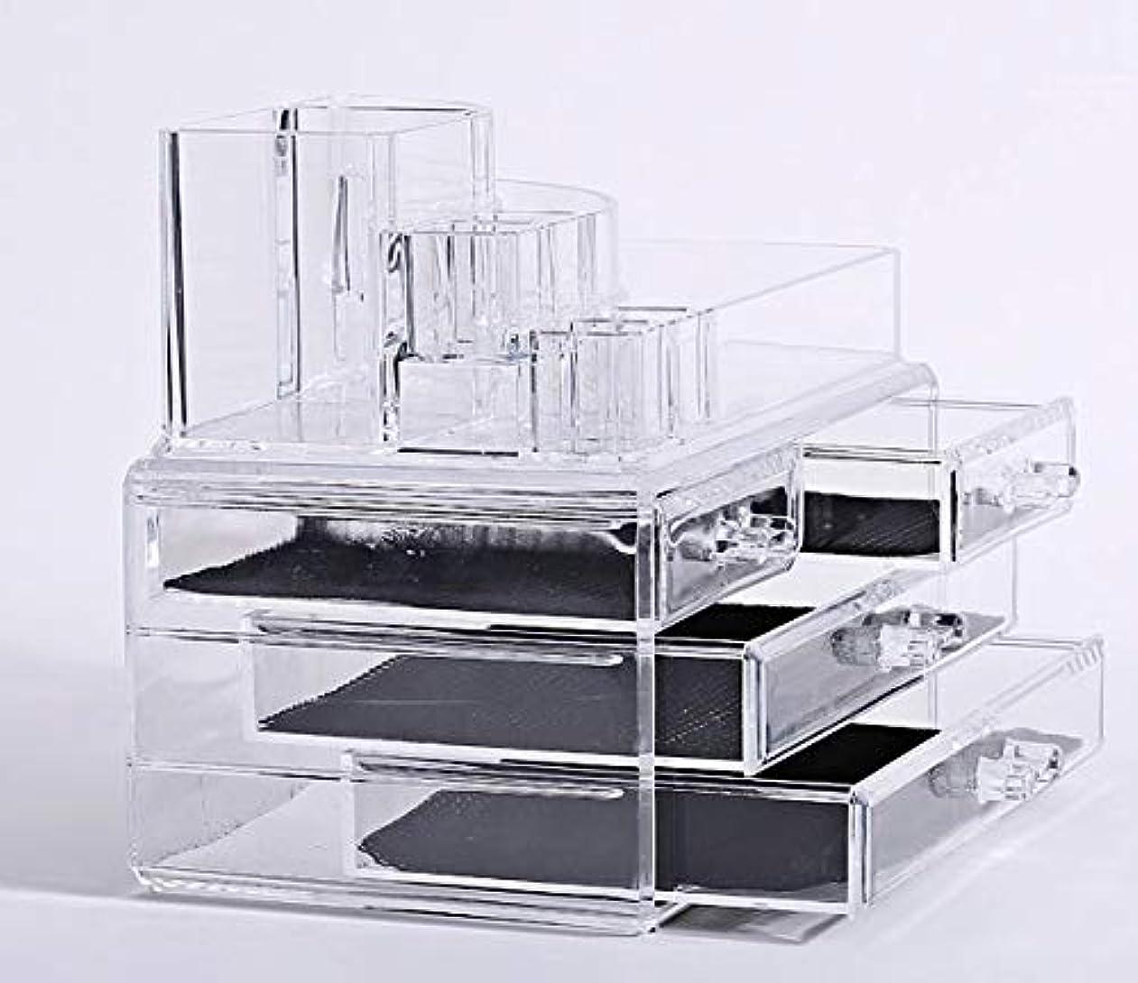 食欲平衡意識的化粧品収納ボックス メイクケース メイクボックス コスメボックス 騒音なし 防塵 高透明度 強い耐久性 整理簡単 引き出し小物