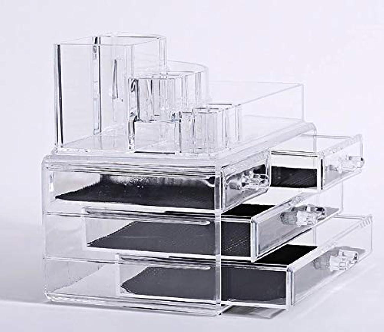 ピンクにじみ出る好奇心化粧品収納ボックス メイクケース メイクボックス コスメボックス 騒音なし 防塵 高透明度 強い耐久性 整理簡単 引き出し小物