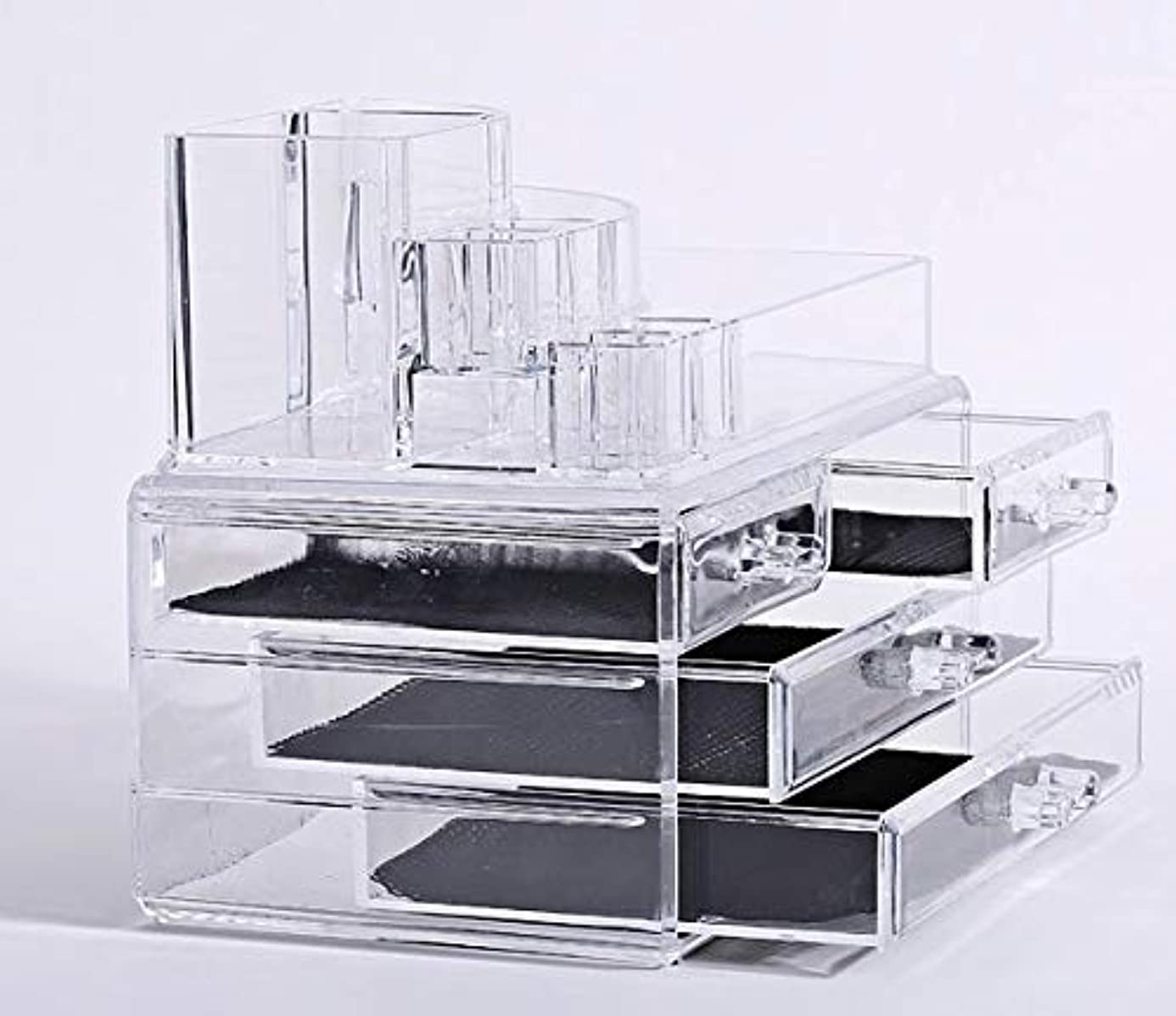 繁殖告白湖化粧品収納ボックス メイクケース メイクボックス コスメボックス 騒音なし 防塵 高透明度 強い耐久性 整理簡単 引き出し小物