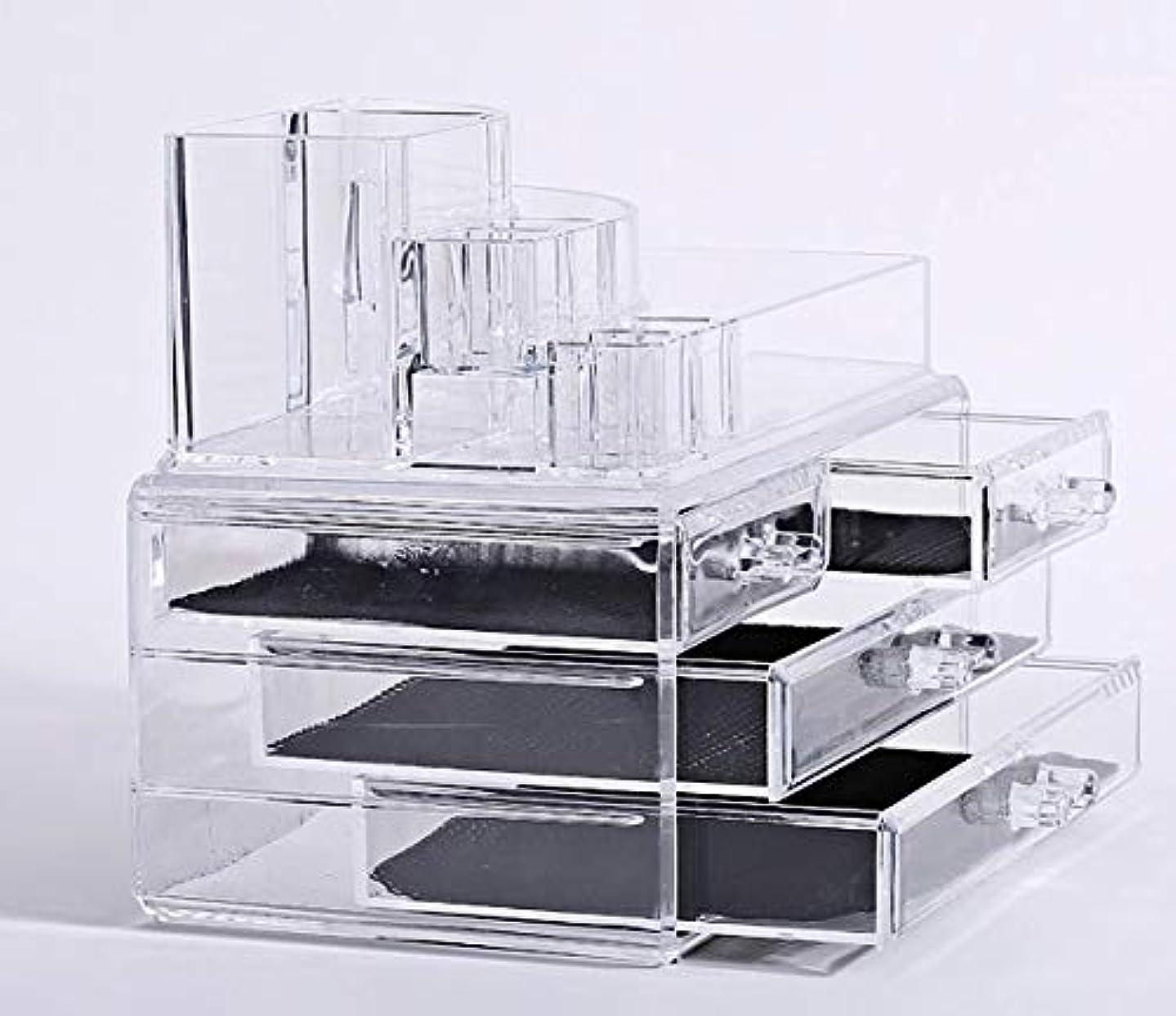 ネックレットケーキ日の出化粧品収納ボックス メイクケース メイクボックス コスメボックス 騒音なし 防塵 高透明度 強い耐久性 整理簡単 引き出し小物