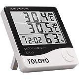 Toloyo デジタル温湿度計 高精度 多機能 液晶大画面表示 温度湿度時刻表示 高感度センサーケーブル付き 置き掛け壁掛け兼用 室内室外用(HTC-2)