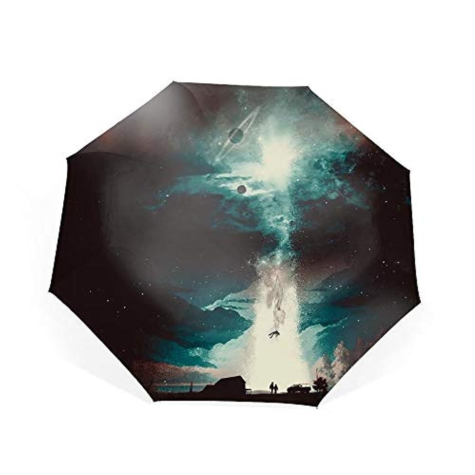 裏切り国家ブロンズ折りたたみ傘 惑星と星 日傘 晴雨兼用 遮光 遮熱 UPF50 UV 紫外線 99% カット 大型 レディース 8本骨