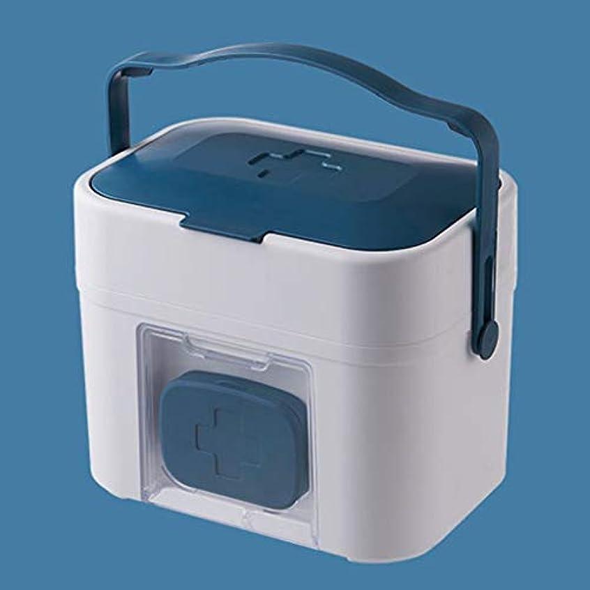 ごみ大陸学んだFirst aid kit サイズ番号携帯外来応急処置多層医療用ボックス家庭用薬収納ボックス/ 37 x 19 x 22 cm XBCDP (Color : Blue)